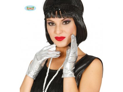 Rukavice dámské stříbrné 22 cm