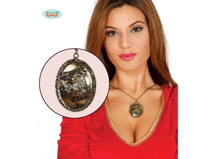 Náhrdelník VLK  zlatý 5 cm D  Halloween