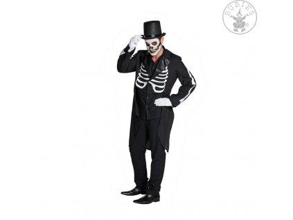 Černý frak - kostra  pánský strašidelný karnevalový kostým vhodný nejen na Halloween