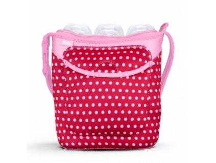Built Three Baby Bottle Tote Baby Pink Mini Dots  Neoprénová taška na tři dětské lahve