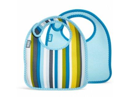Built Infant Bib Baby Blue Stripe  Sada dvou barevných dětských bryndáčků z měkkého neoprenu pro kojence + textilní rouška ke každé objednávce zdarma