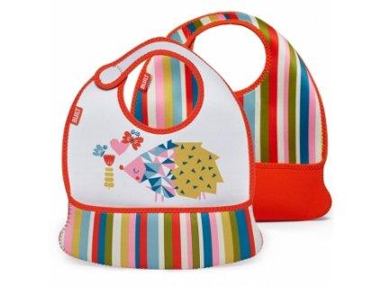 Built Toddler Bib Baby Pink Stripe  Sada dvou dětských neoprénových bryndáčků + textilní rouška ke každé objednávce zdarma
