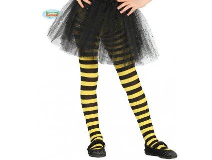 Dětské proužkové punčochy černo-žluté