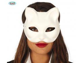 Bílá kočičií maska