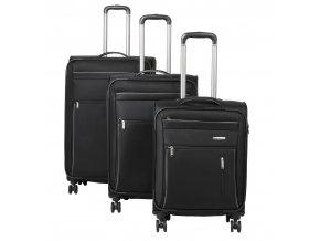 Travelite Capri 4w S,M,L Black – sada 3 kufrů + BB