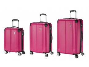 Travelite City 4w S,M,L Berry – sada 3 kufrů