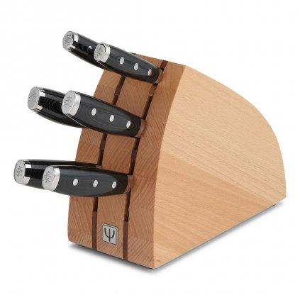 Dřevěný stojan na nože  6 ks přírodní