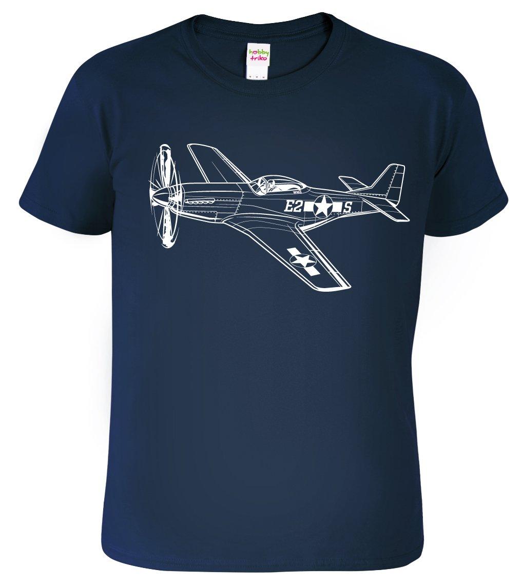 Pánské tričko s letadlem - Mustang, Black&White Edition