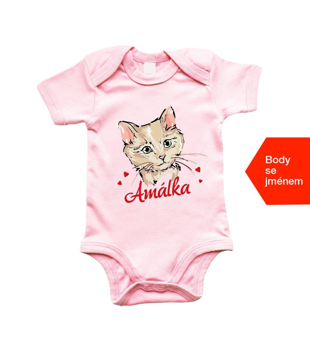 Dětské body - Kočička + jméno - HobbyDárky aa2b79037b