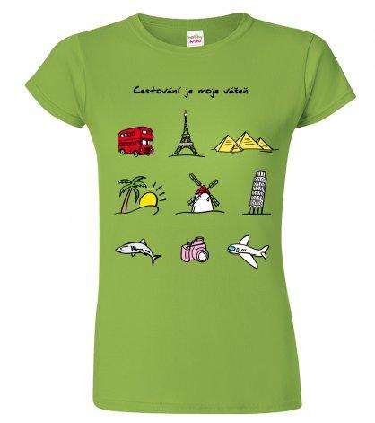 Tričko pro cestovatele  - Cestovatelské symboly (barevný potisk)