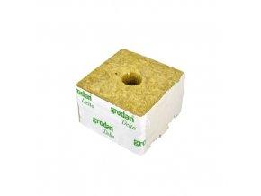 Kostky z minerální vaty (rockwoll) o velikosti 100x100x65mm s malou dírou, 1ks, Grodan.