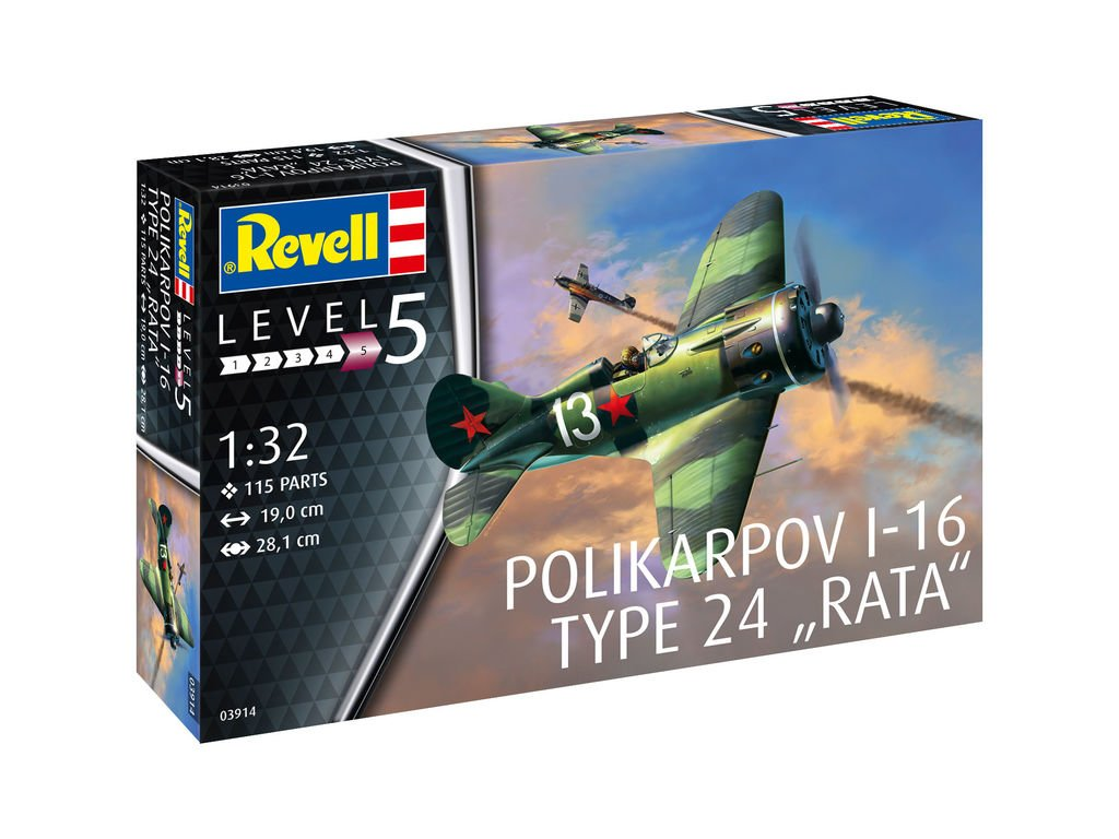101 plastovy model lietadlo revell 03914 polikarpov i 16 type 24 rata 1 32