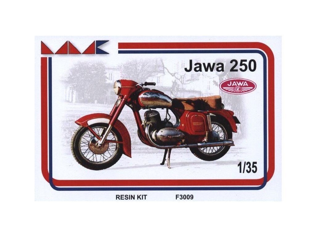 """Resinový model motorka MMK F300910 - JAWA 250 """"KÝVAČKA"""" (1:35)"""