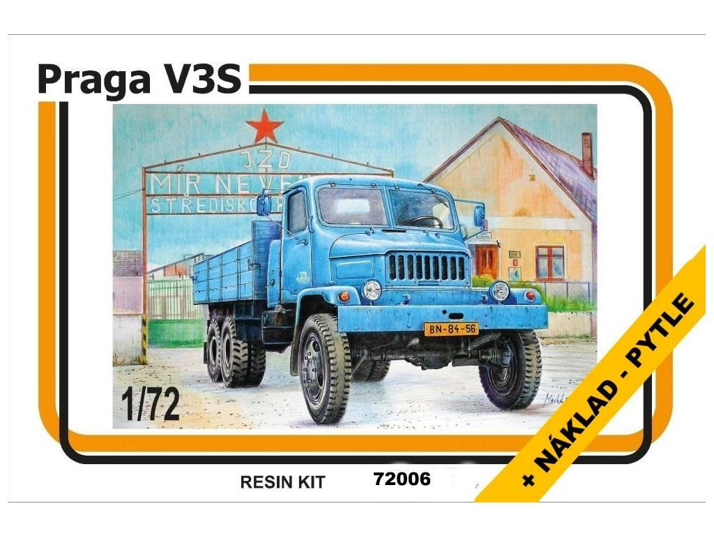 Resinový model kamion MMK 72006 - PRAGA V3S WITH CARGO (BAGS) (1:72)