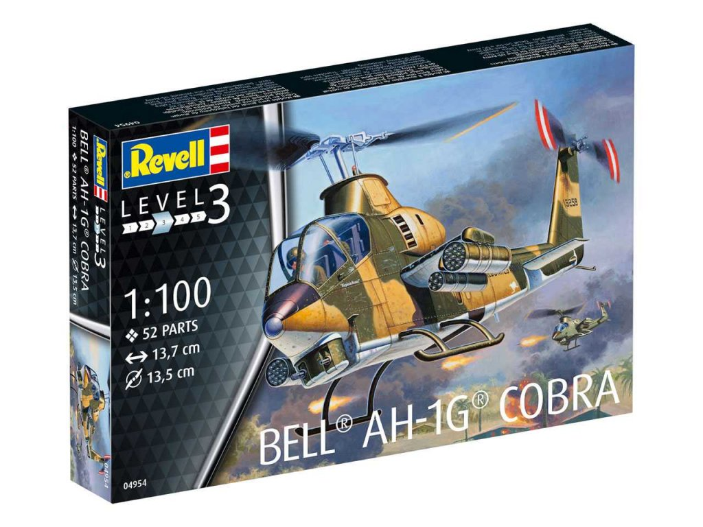 1115 plastovy model vrtulnik revell 04954 bell ah 1g cobra 1 100