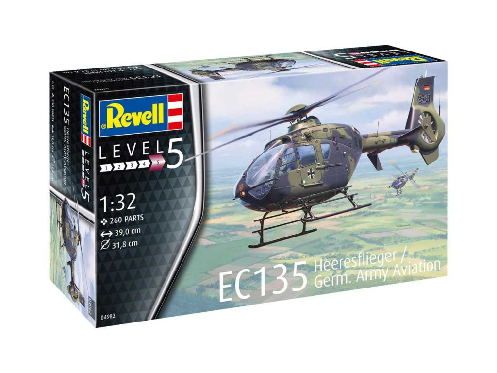 1268 plastovy model vrtulnik revell 04982 ec 135 heeresflieger german army 1 32