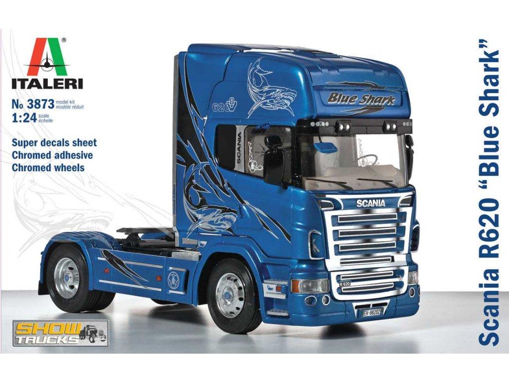 1469 model kit truck italeri 3873 scania r620 blue shark 1 24