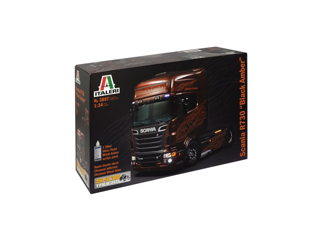 1508 model kit truck italeri 3897 scania r black amber 1 24