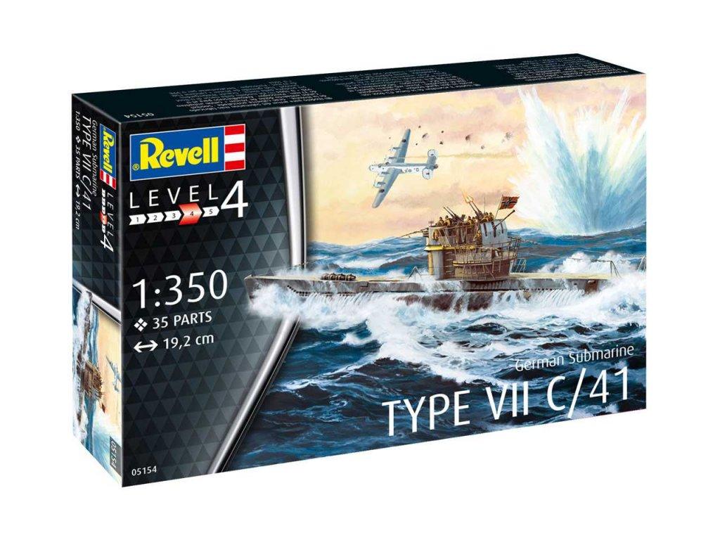 1538 plastovy model ponorka revell 05154 german submarine type vii c 41 1 350