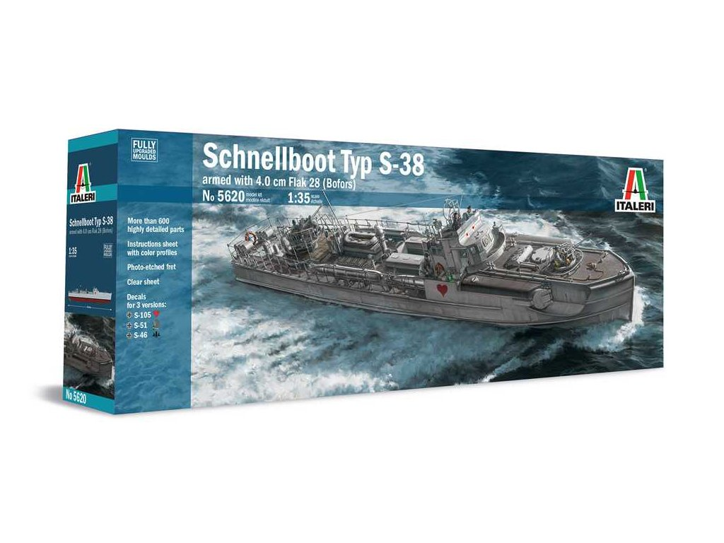1721 model kit lod italeri 5620 schnellboot s 38 with bofors 1 35