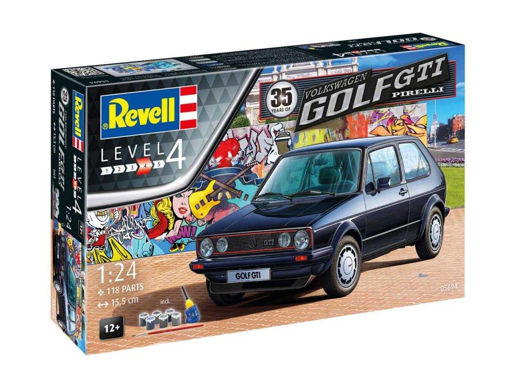 1730 darcekovy set auto revell 05694 35 years vw golf 1 gti pirelli 1 24