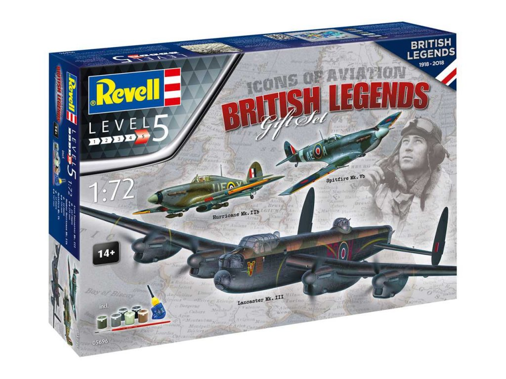 1748 darcekovy set lietadlo revell 05696 100 years raf british legends 1 72