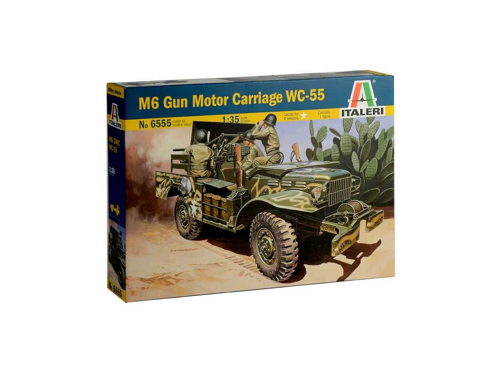 1955 model kit military italeri 6555 m6 gun motor carriage wc 55 1 35