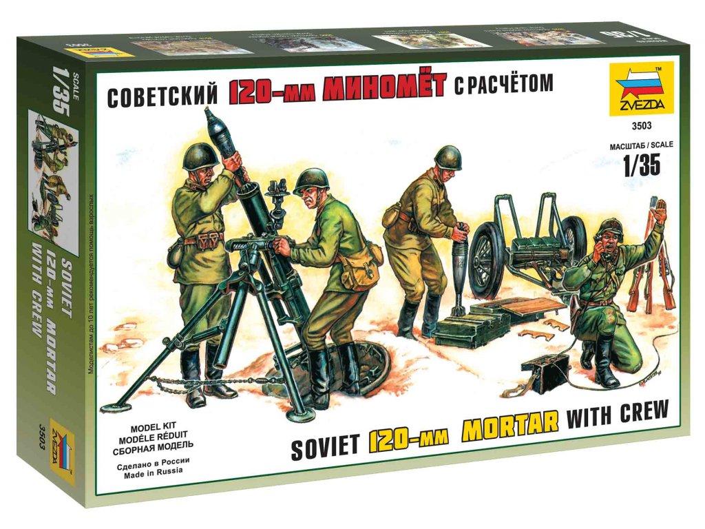 197 model kit figurky zvezda 3503 soviet 120mm mortar with crew re release 1 35
