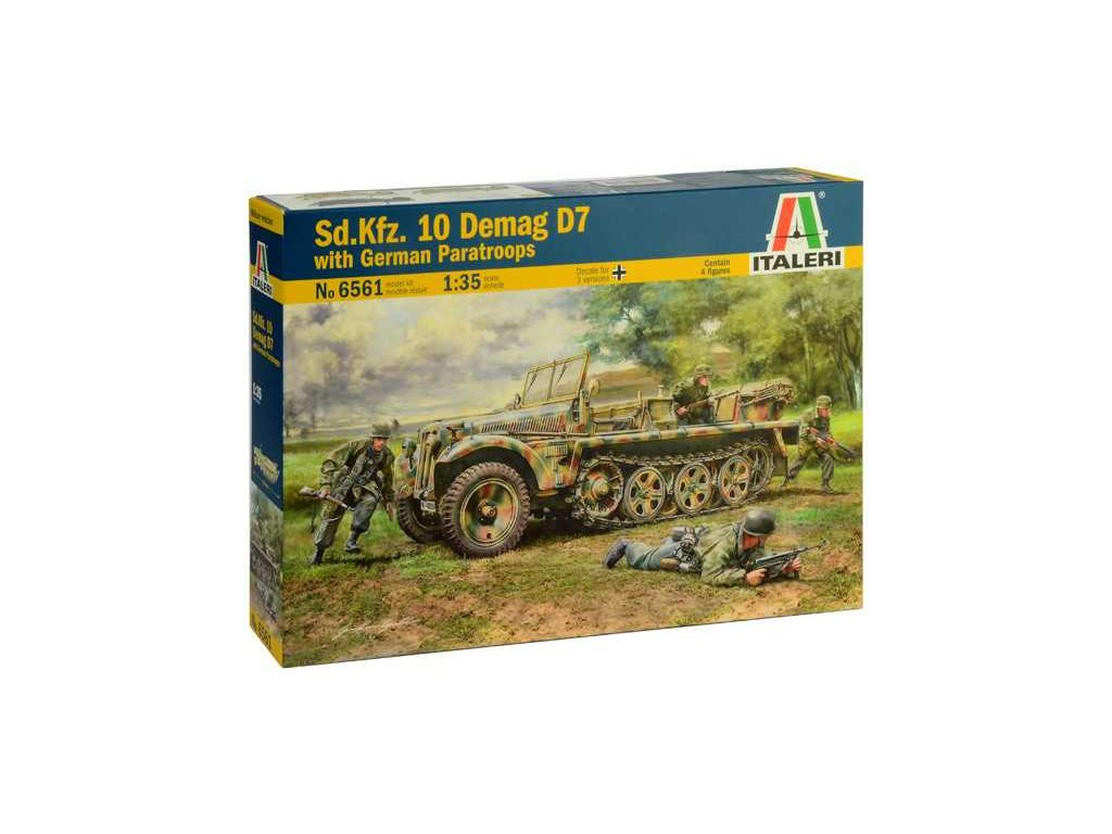 1970 model kit military italeri 6561 sd kfz 10 demag d7 with paratroops 1 35