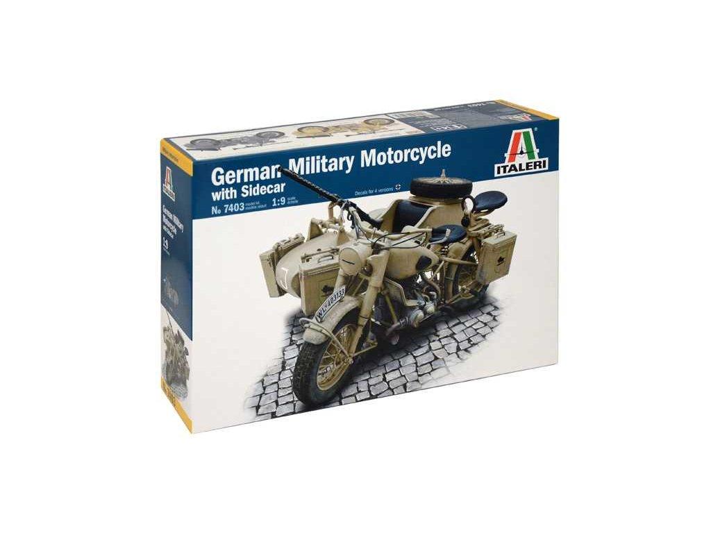 2033 model kit military italeri 7403 german military motorcycle with sidecar 1 9