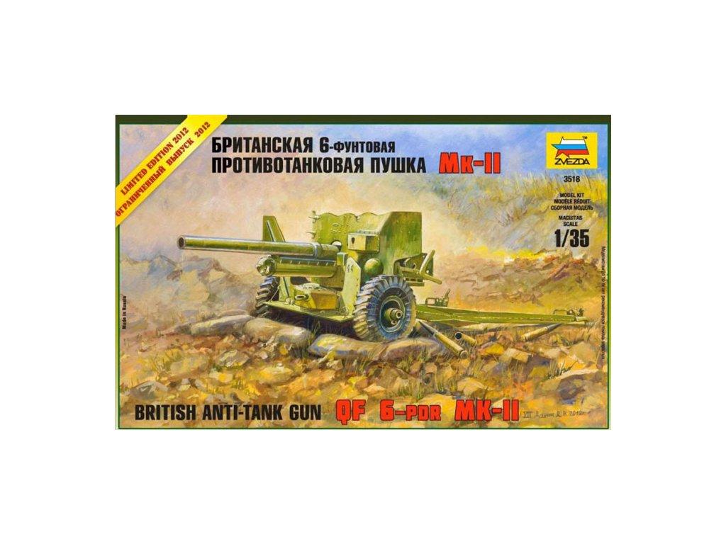 209 model kit military zvezda 3518 british anti tank gun qf 6 pdr mk ii 1 35