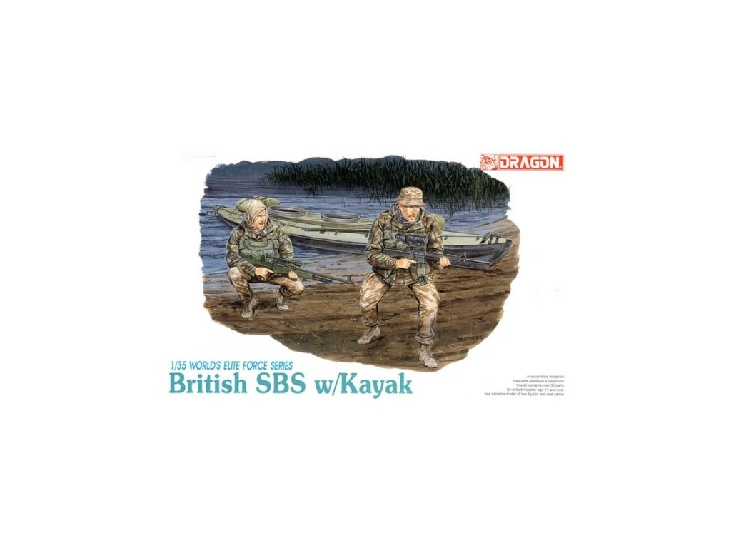 2090 model kit figurky dragon 3023 british sbs w kayak 1 35