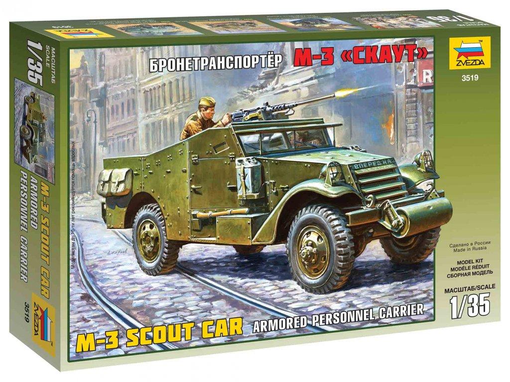 212 model kit military zvezda 3519 m 3 armored scout car 1 35