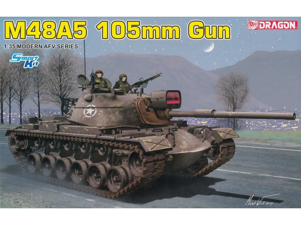2210 model kit tank dragon 3611 m48a5 105mm gun 1 35