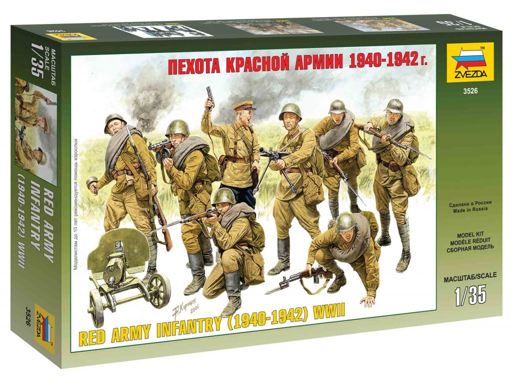 224 model kit figurky zvezda 3526 red army infantry 1940 42 1 35