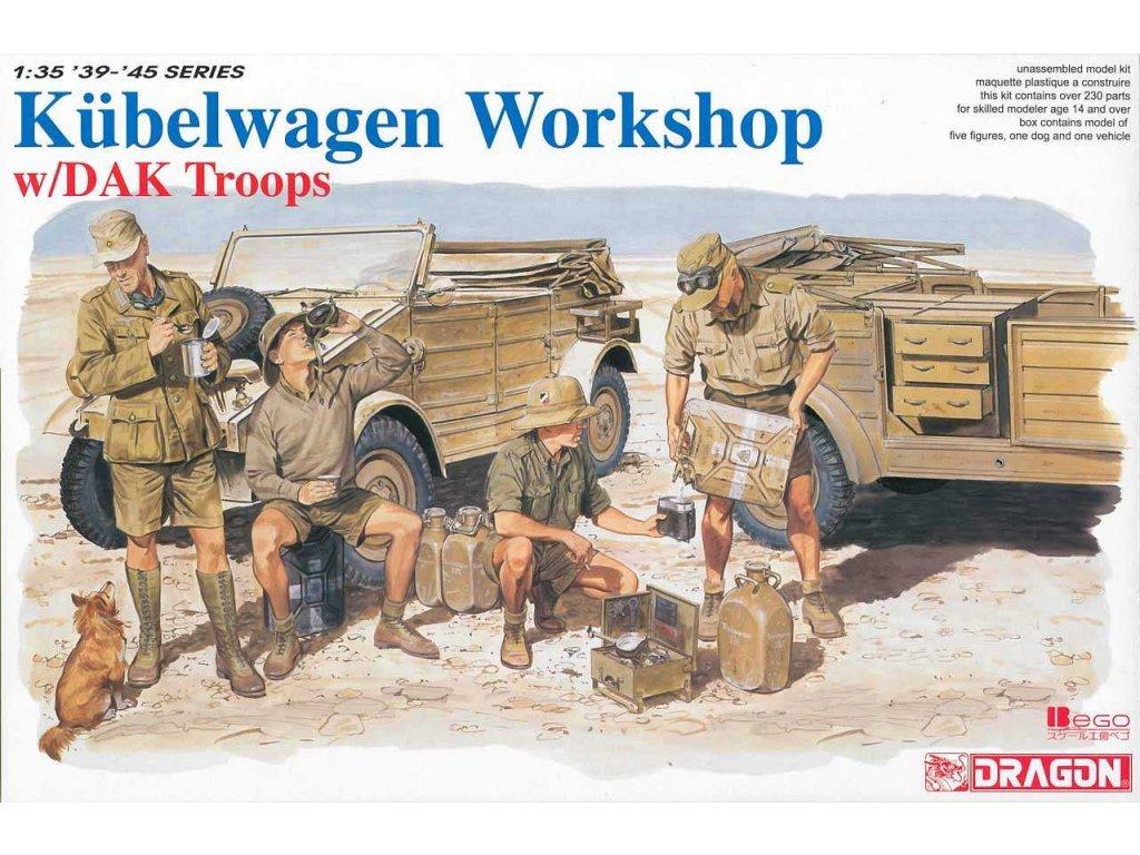 2375 model kit military dragon 6338 kubelwagen workshop w dak troops 1 35