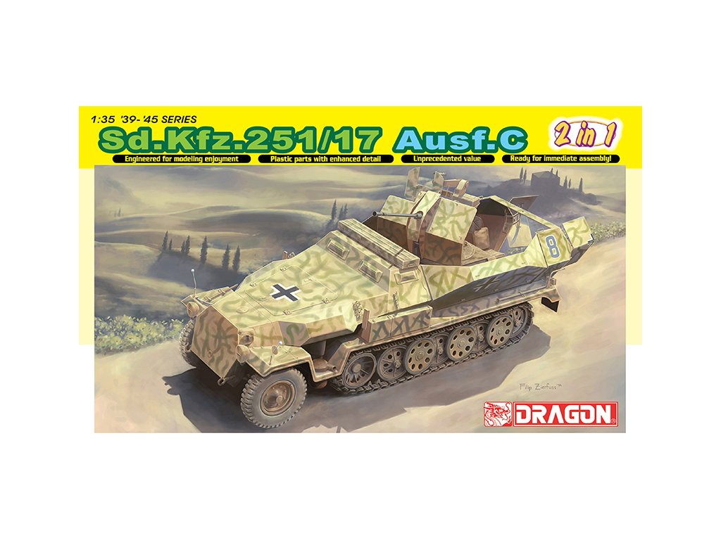 2474 model kit military dragon 6592 sd kfz 251 17 ausf c command version 1 35