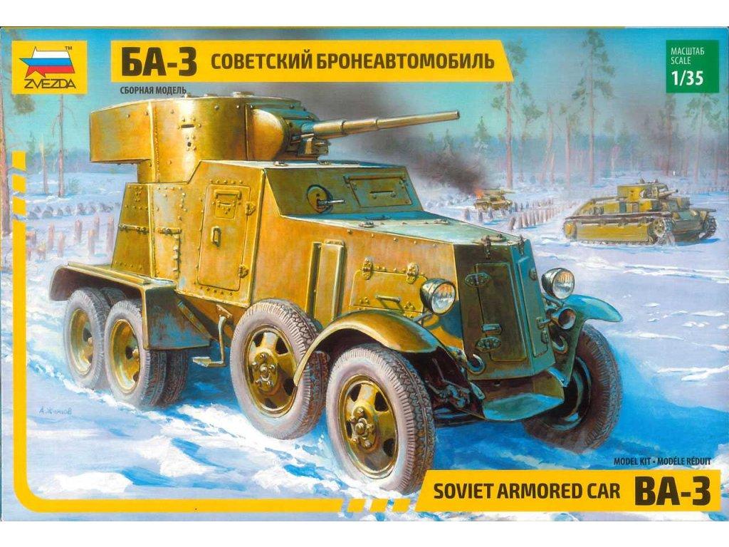 248 model kit military zvezda 3546 ba 3 armored car re release 1 35