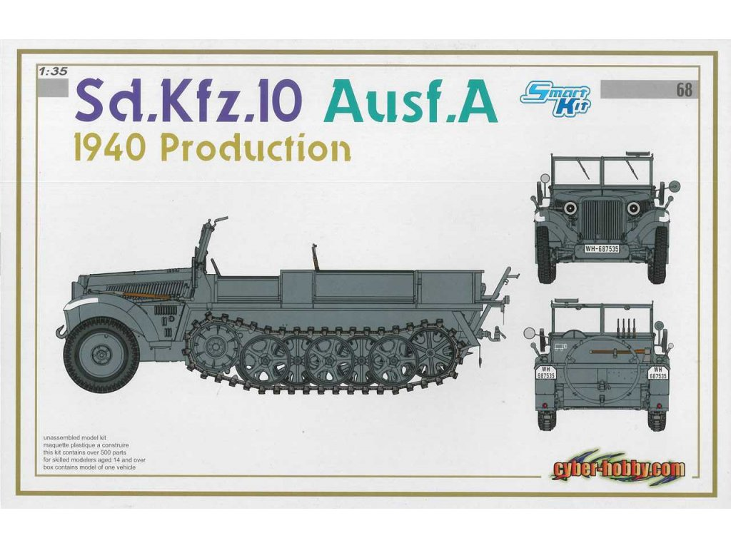 2501 model kit military dragon 6630 sd kfz 10 ausf a 1940 prod smart kit 1 35