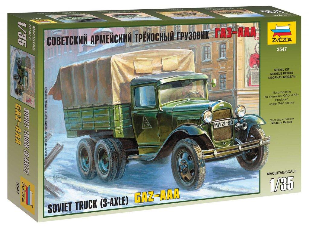 251 model kit military zvezda 3547 gaz aaa soviet truck 3 axle 1 35