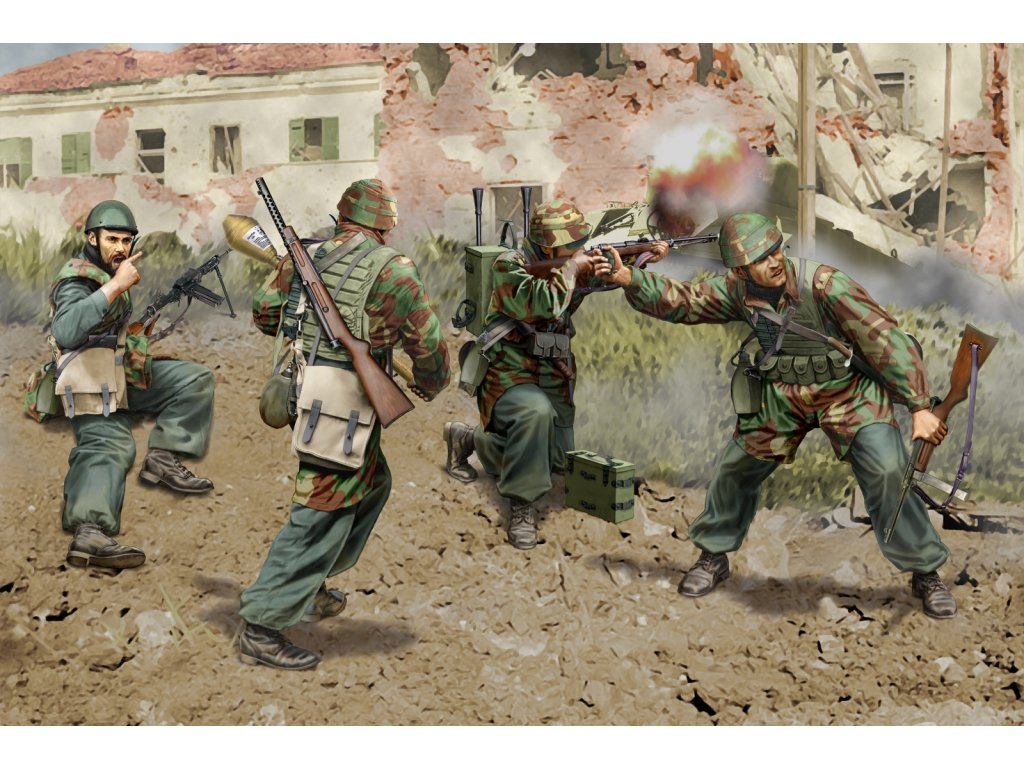 2561 model kit figurky dragon 6741 italian paratroopers anzio 1944 1 35