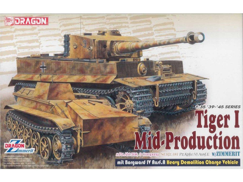 2687 model kit tank dragon 6866 pz kpfw vi ausf e tiger i mid prod 1 35
