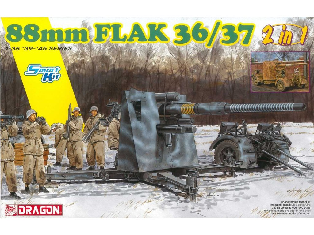 2744 model kit military dragon 6923 88mm flak 36 37 2 in 1 1 35