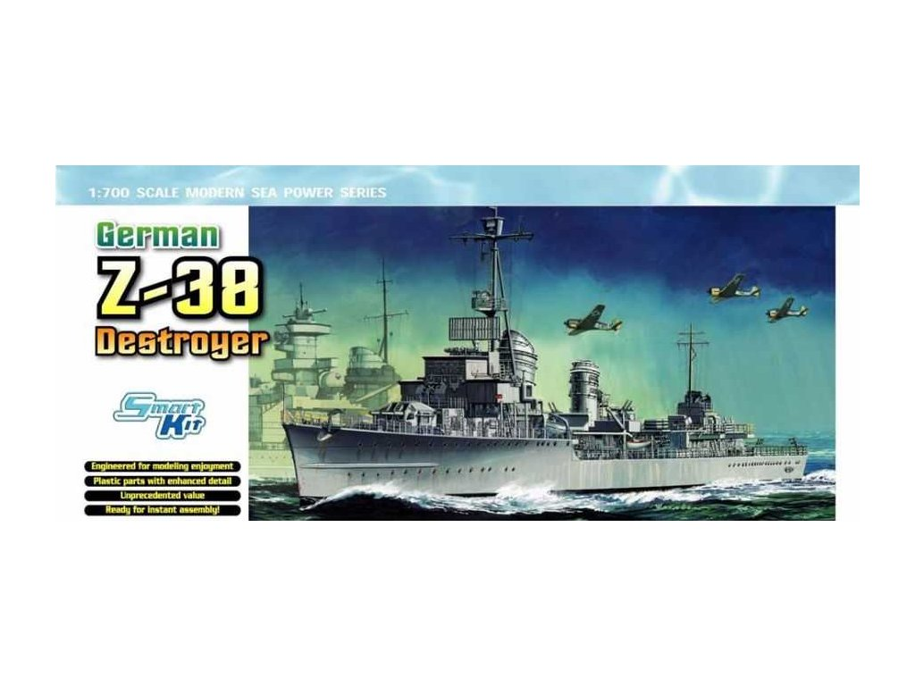 2768 model kit lod dragon 7134 german z 38 destroyer smart kit 1 700