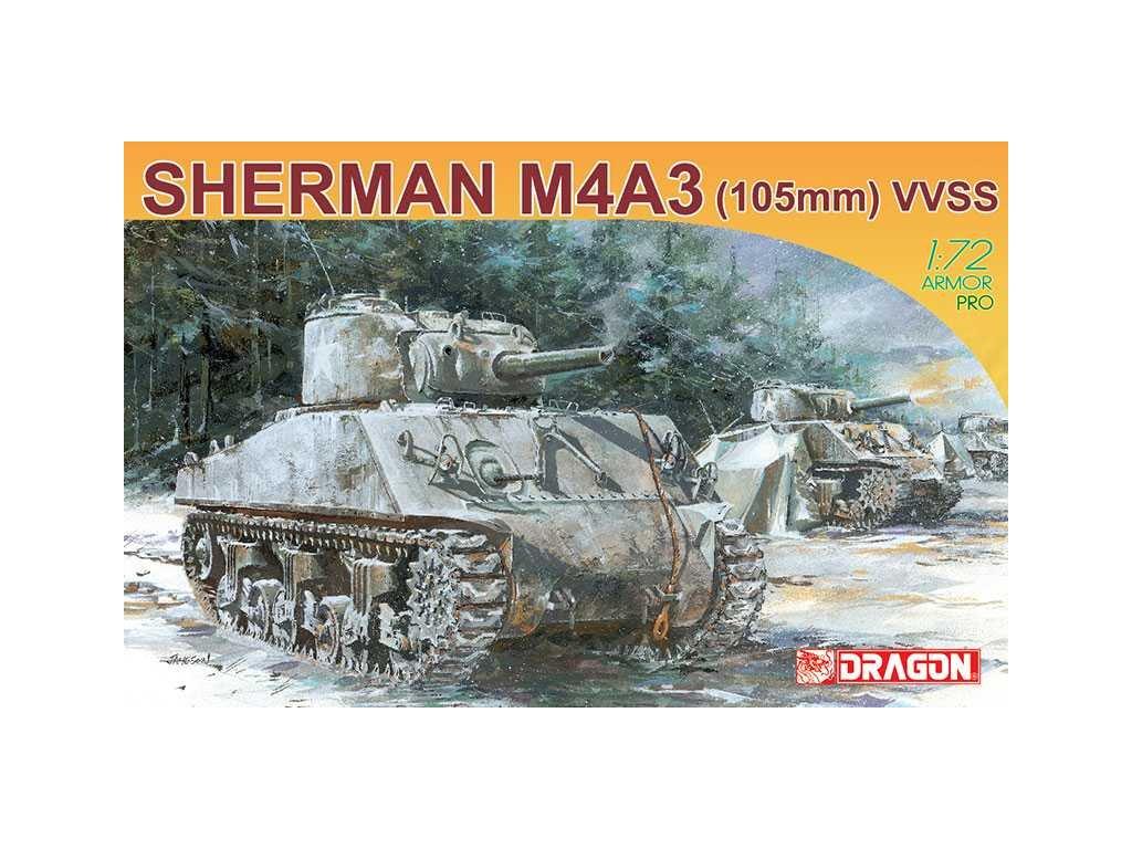 2777 model kit tank dragon 7274 sherman m4a3 105mm 1 72