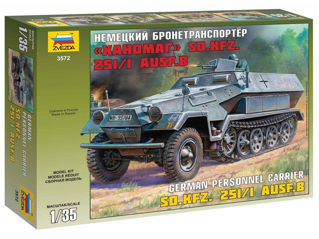 281 model kit military zvezda 3572 hanomag sd kfz 251 1 ausf b 1 35