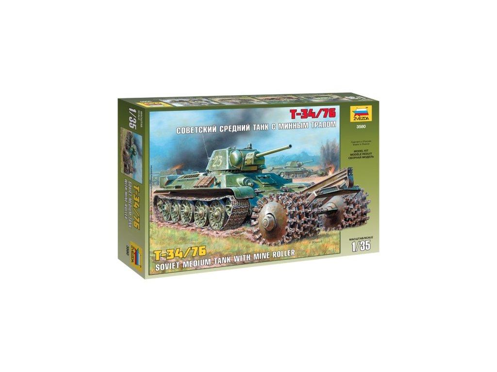 287 model kit tank zvezda 3580 t 34 76 soviet tank with mine roller 1 35