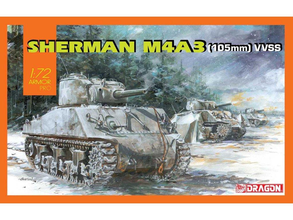2891 model kit tank dragon 7569 sherman m4a3 105mm vvss 1 72