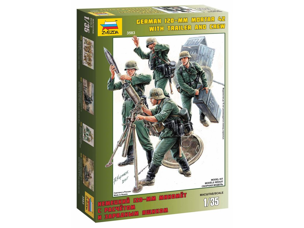 293 model kit figurky zvezda 3583 german mortar with crew 1 35