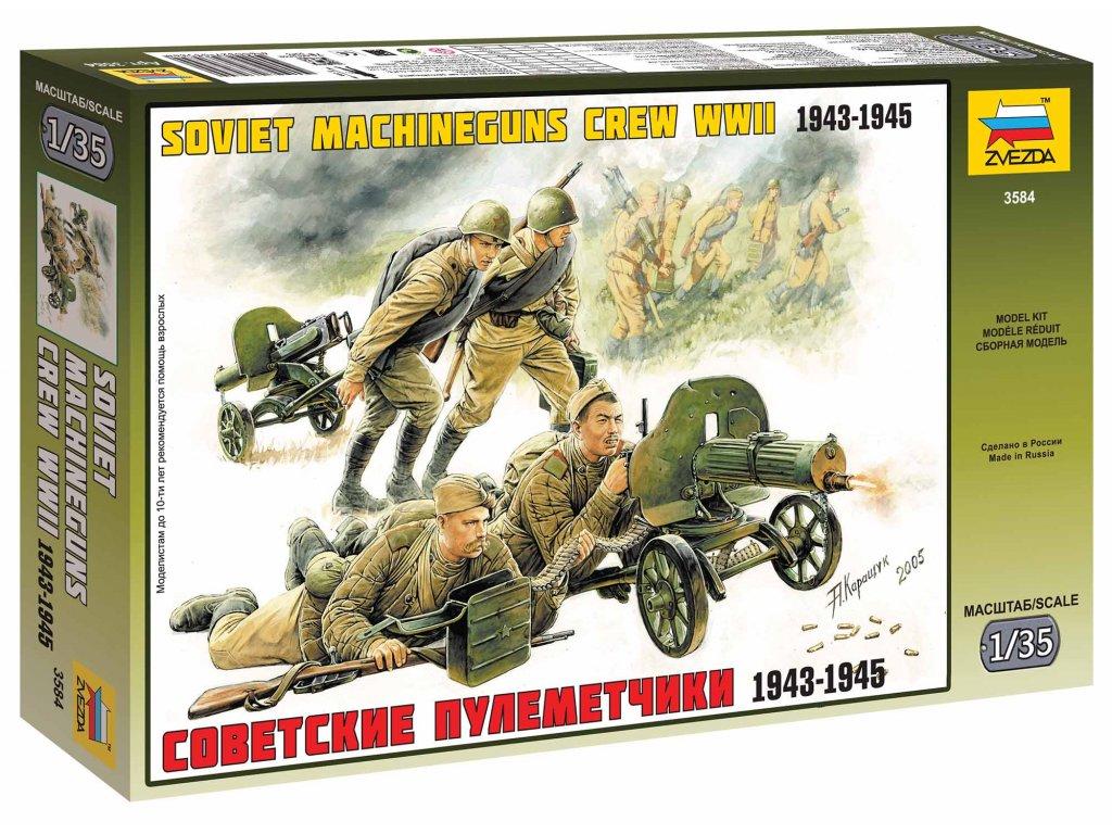 299 model kit figurky zvezda 3584 soviet machineguns with crew 1 35